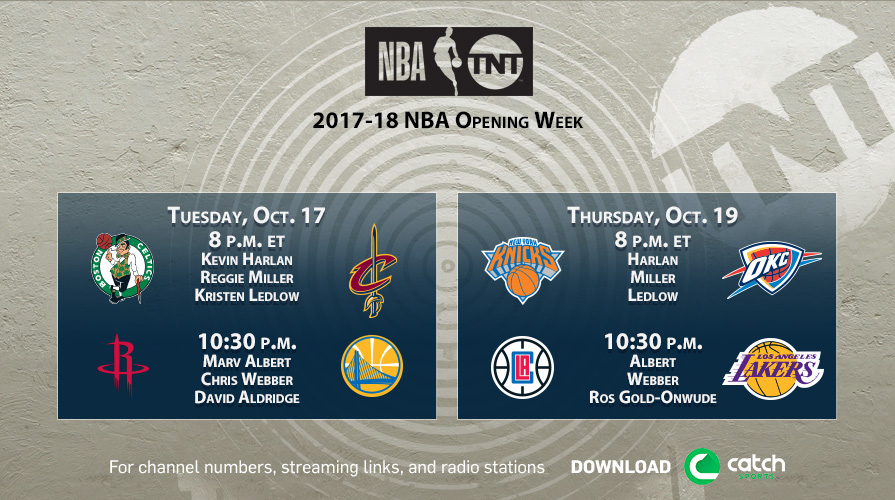 Kia Thunder Bay >> 2017-18 NBA Opening Night on TNT to Feature Kyrie Irving's First Game Against Former Team ...