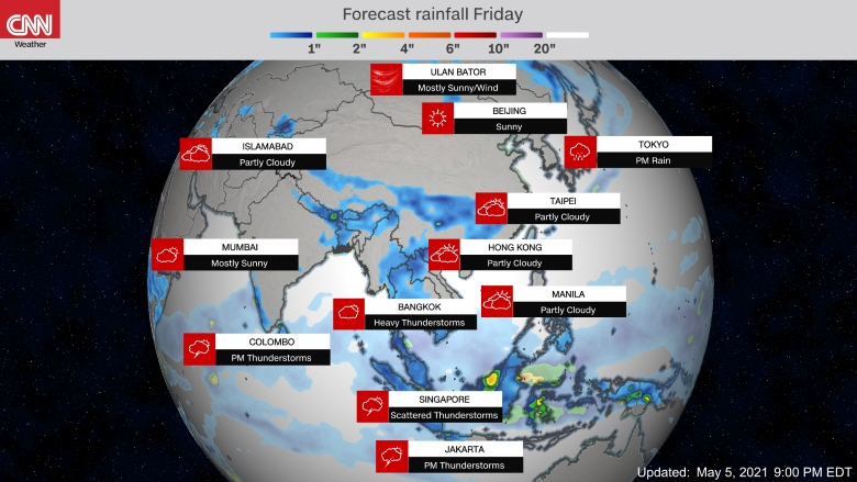 Forecast weather map of Asia