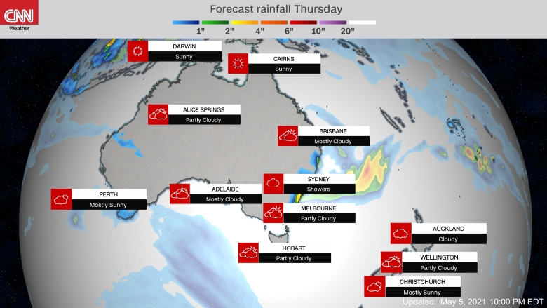 Forecast weather map of Australia