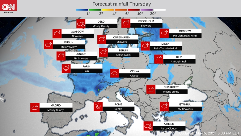 Forecast weather map of Europe