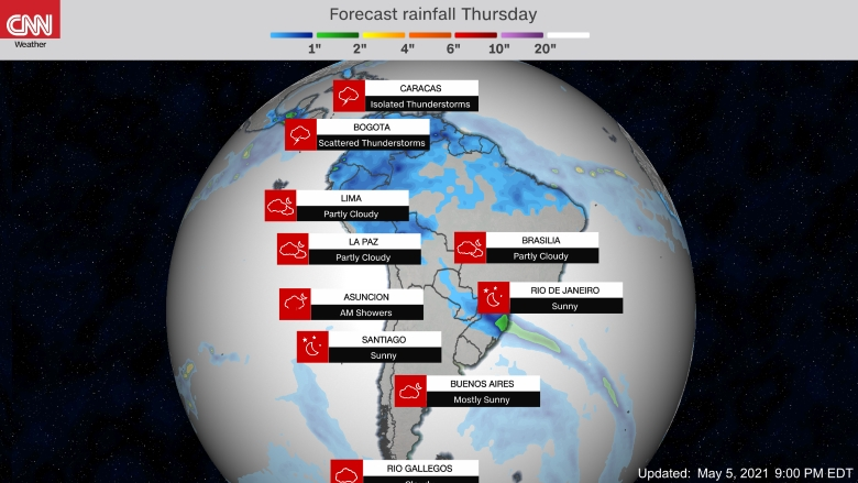 Forecast weather map of South America