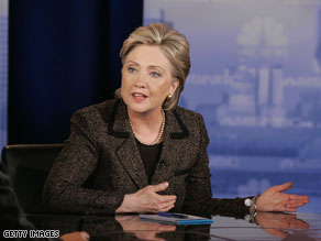 Sen. Hillary Clinton at last nights debate in Clevland, Ohio.