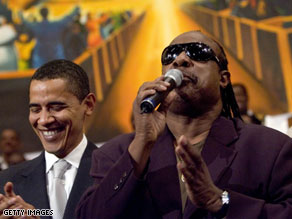 Stevie Wonder at an Obama campaign rally.