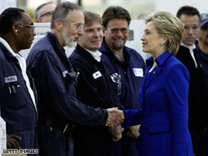 Sen. Hillary Clinton greets employees during a tour of the General Motors Allison Transmission Plant.