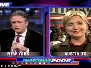 Sen. Clinton appeared on The Daily Show late Monday night.
