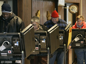 A line of voters cast their primary ballots in Columbus.