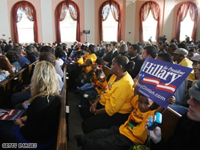 Campaign rally for Hillary Clinton at a Dillard University chapel February 8, 2008 in New Orleans, Louisiana.