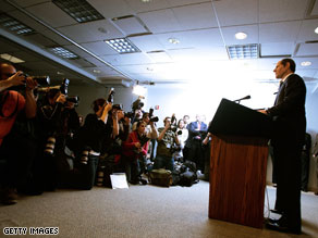 Eliot Spitzer announces his resignation March 12, 2008 in New York City.
