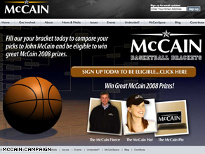 Hoops fan John McCain is calling on supporters to fill out their brackets.
