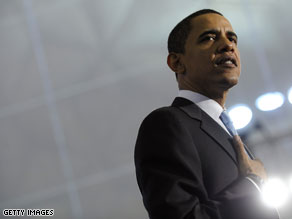 Senator Barack Obama speaks to supporters at the Community College of Beaver County yesterday in Monaca, Pennsylvania.