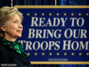 Sen. Hillary Clinton delivered a speech on Iraq at George Washington University, Monday in Washington DC.