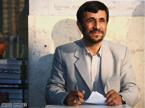 Iranian President Mahmoud Ahmadinejad casts his ballot in the parliamentary elections at a mosque on March 14, 2008 in South Tehran.