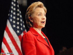 Sen. Clinton spoke in Philadelphia Monday.