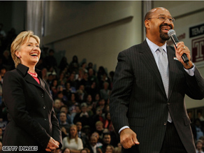 Philadelphia Mayor Michael Nutter joins Democratic presidential hopeful Sen. Hillary Clinton at a rally in Philadelphia, Pennsylvania. The State's Pivotal, delegate-rich primary is April 22.