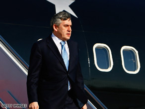 British Prime Minister Gordon Brown arrives at Andrews Air Force Base Wednesday.