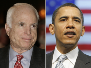 Sens. John McCain and Barack Obama.