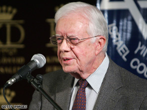 Former president Jimmy Carter addressed the media in Jerusalem.