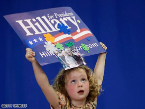 Four-year-old Cassandra Savukinas attends a campaign event in Philadelphia.