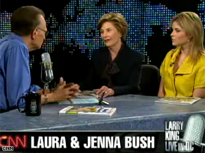 Laura Bush and daughter Jenna appeared on CNN&#039;s Larry King Live Thursday.