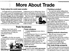 A cartoon insert in several national newspapers explains international trade for kids.