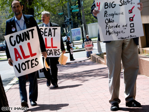 Protestors picketed the DNC last month to push for full delegate slates for Florida and Michigan.