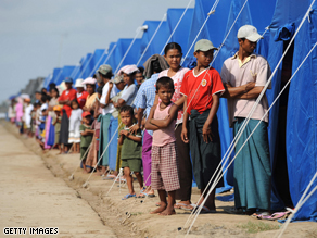 People displaced by Cyclone Nargis by their tents in the Kyondah village, Myanmar
