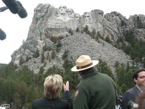  Clinton paid a visit to Mt. Rushmore Wednesday. (Sasha Johnson/CNN)