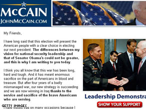 A fundraising e-mail sent to McCain supporters Thursday.