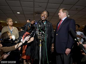 Ohio Rep. Stephanie Tubbs Jones speaks at a press conference outside the DNC meeting Saturday.