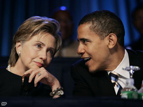 Senators Clinton and Obama at the NAACP annual convention in July, 2006.