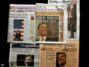 Front pages of some major British newspapers showing stories about Barack Obama's success in the US Democratic presidential race.