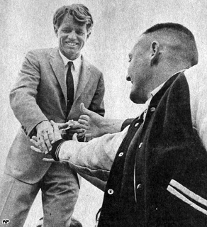 Robert F. Kennedy greets students during a presidential campaign stop in La Grande, Ore., May 22, 1968.