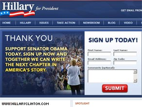Sen. Clinton&#039;s campaign Web site took on a new look Saturday as she endorsed Sen. Barack Obama.