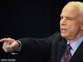 Sen. John McCain defended his decision to postpone a fundraiser Monday.