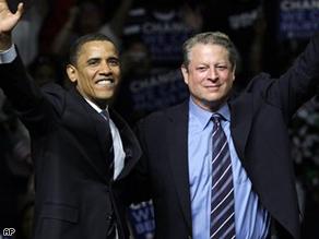Al Gore announces his endorsement of Barack Obama, Monday.