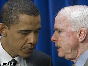 Sens. Obama and McCain talked during a Capitol Hill press conference in this 2006 file photo.