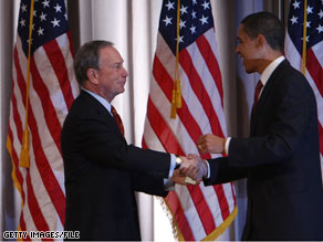 Mayor Bloomberg introduced Sen. Obama at an event in New York City in March.
