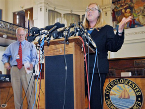 Mayor Carolyn Kirk speaks to the media following a meeting concerning the pregnancy pact, Monday.