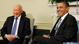 U.S. President Barack Obama meets Singapore's Lee Kuan Yew in late October at the White House.
