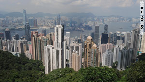 View from above: Hong Kong Island, as seen from Victoria Peak, where real estate prices have been soaring.