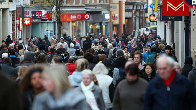 Holiday shoppers pack the High Street in Nottingham despite reports the UK economy is still in recession.