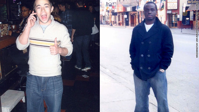 Regis Murayi, right, is seen after he got rejected by a bar over his jeans, and Jordan Roberts wears Regis' jeans inside the bar.
