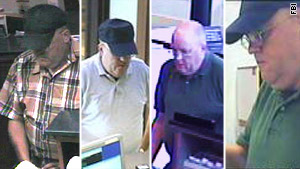 "A man, thought to be between 50 and 60 years old, is wanted in a string of ""calm"" bank robberies, the FBI says."
