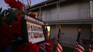 A memorial to the victims was erected at the apartment complex where suspect Maj. Nidal Malik Hasan lived.