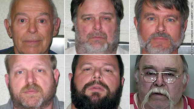 From left: Burrell Mohler Sr., Burrell Mohler Jr., David Mohler,   Jared Mohler, Roland Mohler and Darrel Mohler face charges.