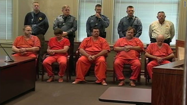 Five of the Mohlers appear in court in Lafayette County, Missouri, after their arrests. A sixth was arrested Friday in Florida.