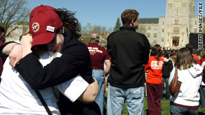 Virginia Tech students grieve on the first anniversary of the shootings in 2008.