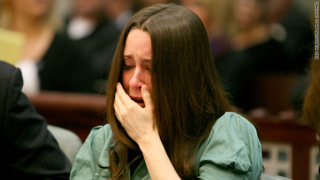 Casey Anthony cries during the court hearing in Florida on Friday. She is accused of killing her daughter.