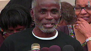 James Bain, 54, talks to the media Thursday after his release in Bartow, Florida.