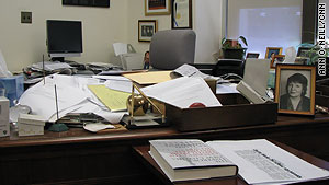 Morgenthau's desk is typically cluttered, but he remains sharp at age 90, observers say.